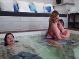 Banging Stunning Hot Friends MILF Wife In A Hot Tub While He Was Sleeping Sound